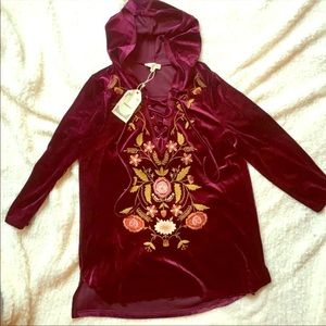 New floral embroidered sweatshirt tunic